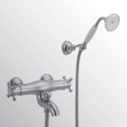 Huber Victorian Thermostatische Badkraan met douchegarnituur RVS 193.VT01H.NS