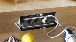 Bachmann keukenstopcontact Verzinkbare energiebox 3-voudig Zilver 008835