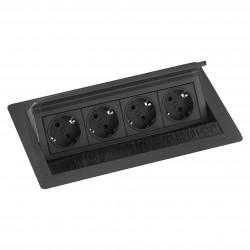 EVOline Fliptop 4 Verzinkbare contactdoos randaarde zwart
