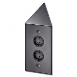 Energiezuil met 2 stopcontacten randaarde ST3007/20C zwart