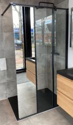 OUTLET ex showroom Novellini Kuadra HP helderglas en spiegel mat zwart profiel 120x200cm 1208953303