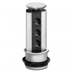 Stopcontact Evoline Port 3 zilver BE Penaarde 931.00.422